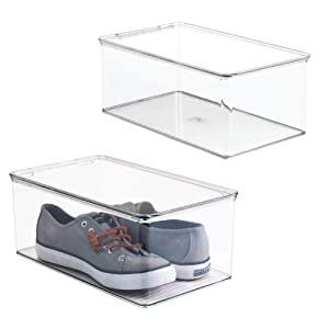 mDesign Stackable Plastic Closet Shelf Shoe Storage Organizer Box with Lid for Mens, Womens, Kids Sandals, Flats, Sneakers - 2 Pack - Clear