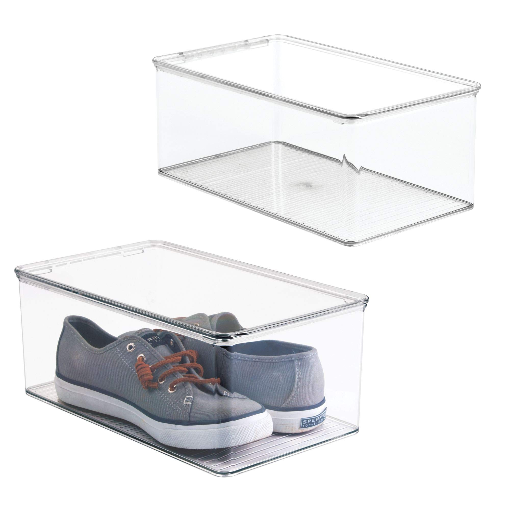 mDesign Stackable Plastic Closet Shelf Shoe Storage Organizer Box with Lid for Mens, Womens, Kids Sandals, Flats, Sneakers - Pack of 2, Clear