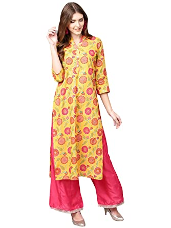 ac7d2ab4bd5 Varanga Yellow floral printed straight kurta  Amazon.in  Clothing ...