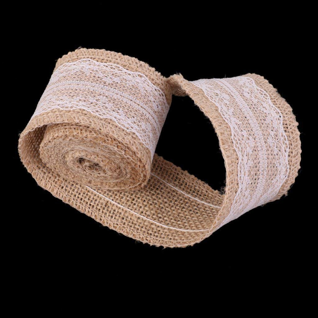 Jute Hemp Ribbon Roll White Lace Craft Band DIY Wedding Craft lace Linen Vintage Handmade Brown 1 Piece Creative and Useful