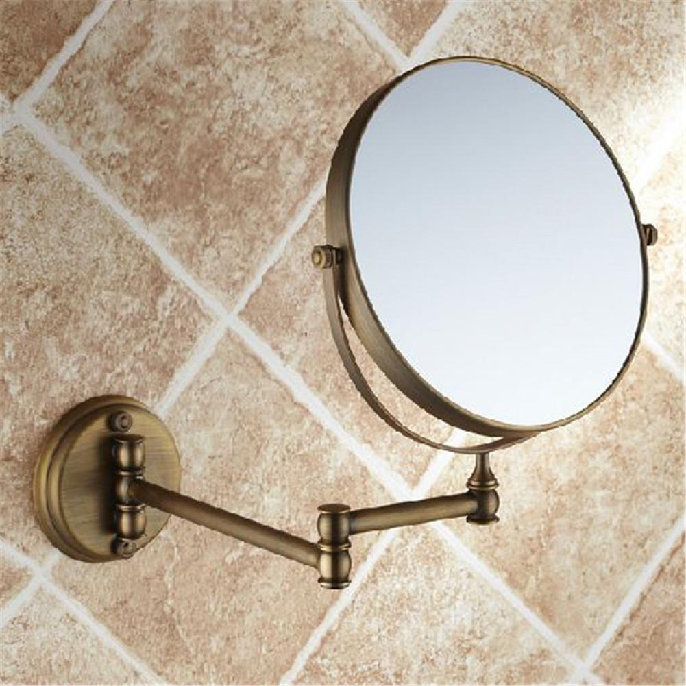 HomJo 8 estendere la doppia lato bagno pieghevole barba trucco specchio a parete in ottone con braccio tondo 1x3x ingrandimento , 1 leiping