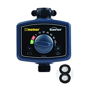 Melnor 65073-AMZ Sunrise Once-A-Day Automatic Water Timer with 2 Filter Washers Set, Amazon Bundle