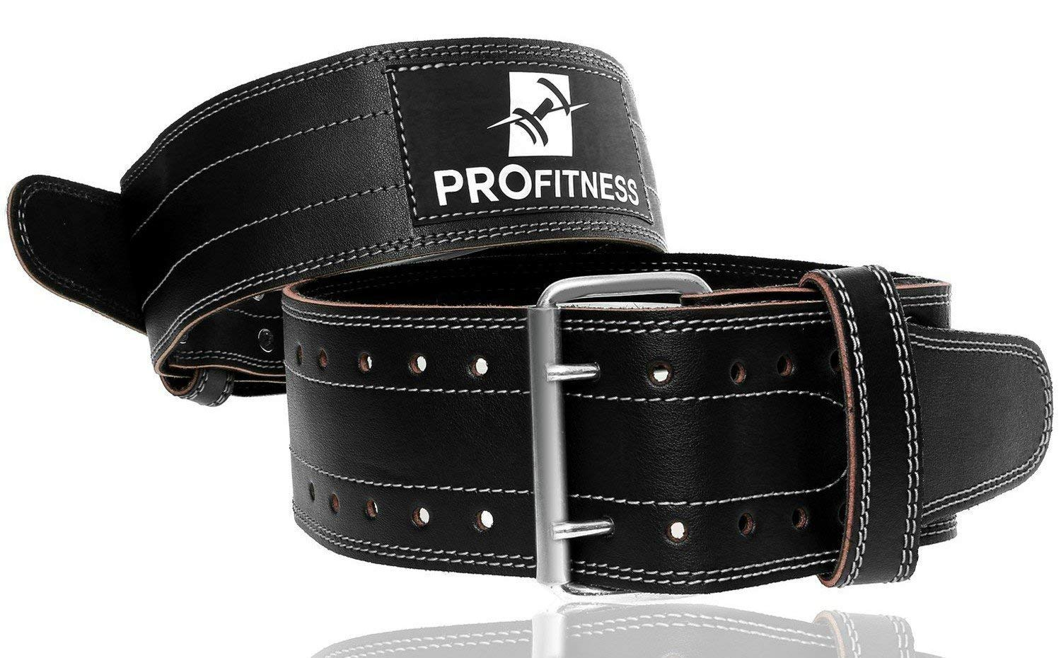 ProFitness Genuine Leather Workout Belt (4 Inches Wide) – Proper Weight Lifting Form – Lower Back Support for Squats…