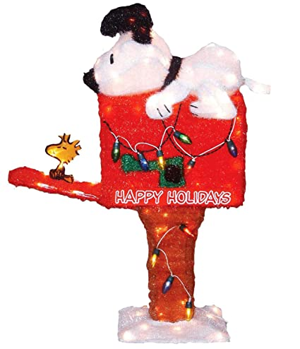 productworks 36 inch pre lit peanuts snoopy on the mailbox animated christmas yard decoration - Lighted Snoopy Mailbox Outdoor Christmas Decoration