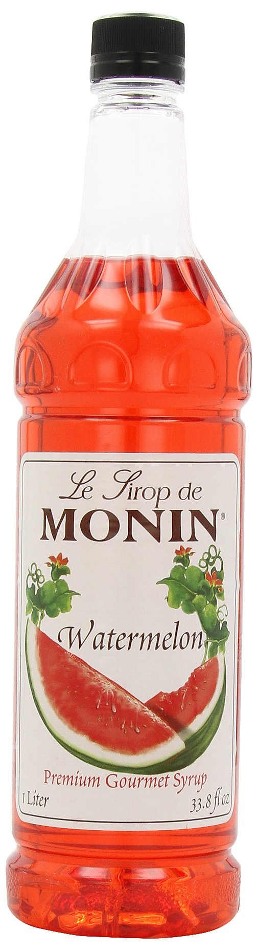 Monin Flavored Syrup, Watermelon, 33.8-Ounce Plastic Bottles (Pack of 4)