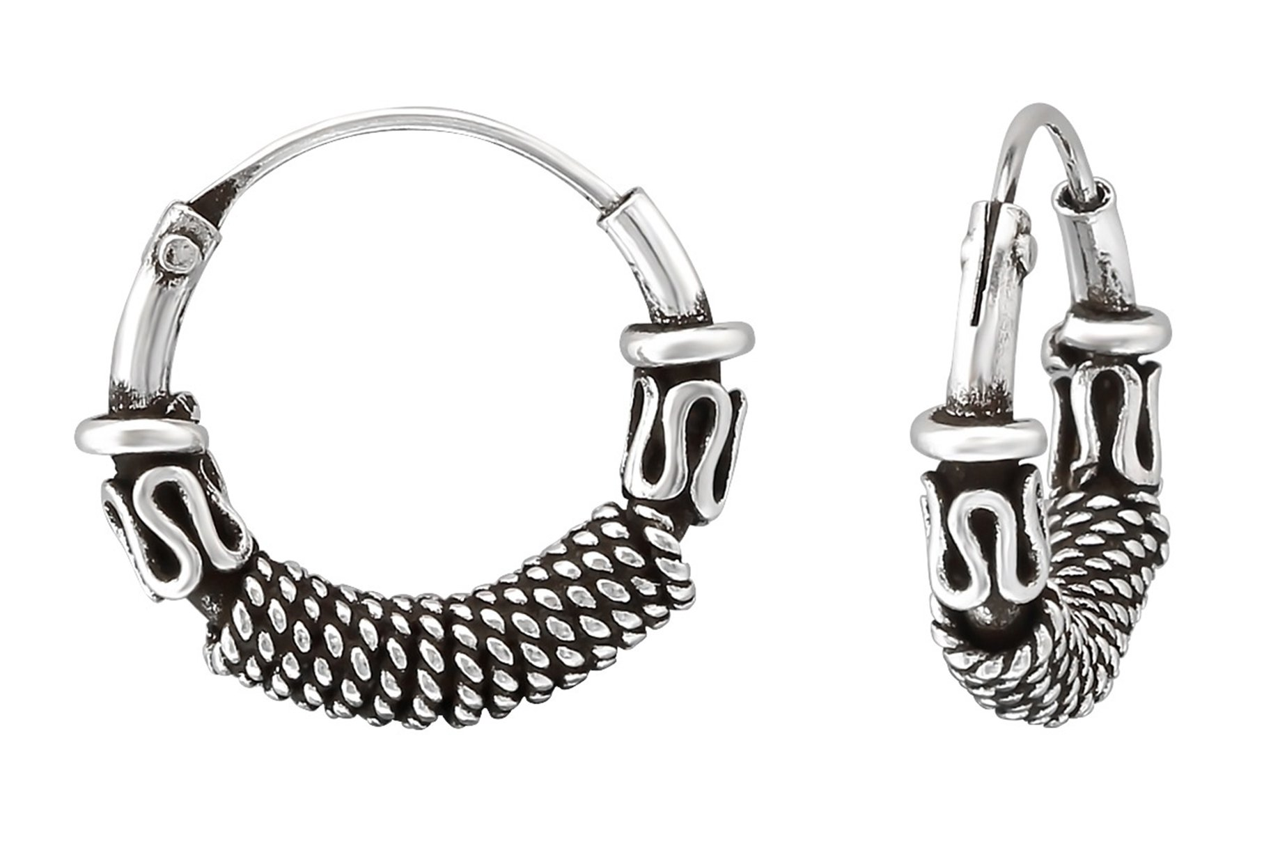Best Wing Jewelry .925 Sterling Silver ''12mm Bali-Style / Tribal-Style'' Tiny Small Endless Hoop Earrings for Cartilage, Ear, Nose and Lip (035289)