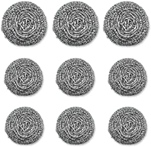 9 Pack Stainless Steel Sponges, Scrubbing Scouring Pad, Steel Wool Scrubber for Kitchens, Bathroom and More
