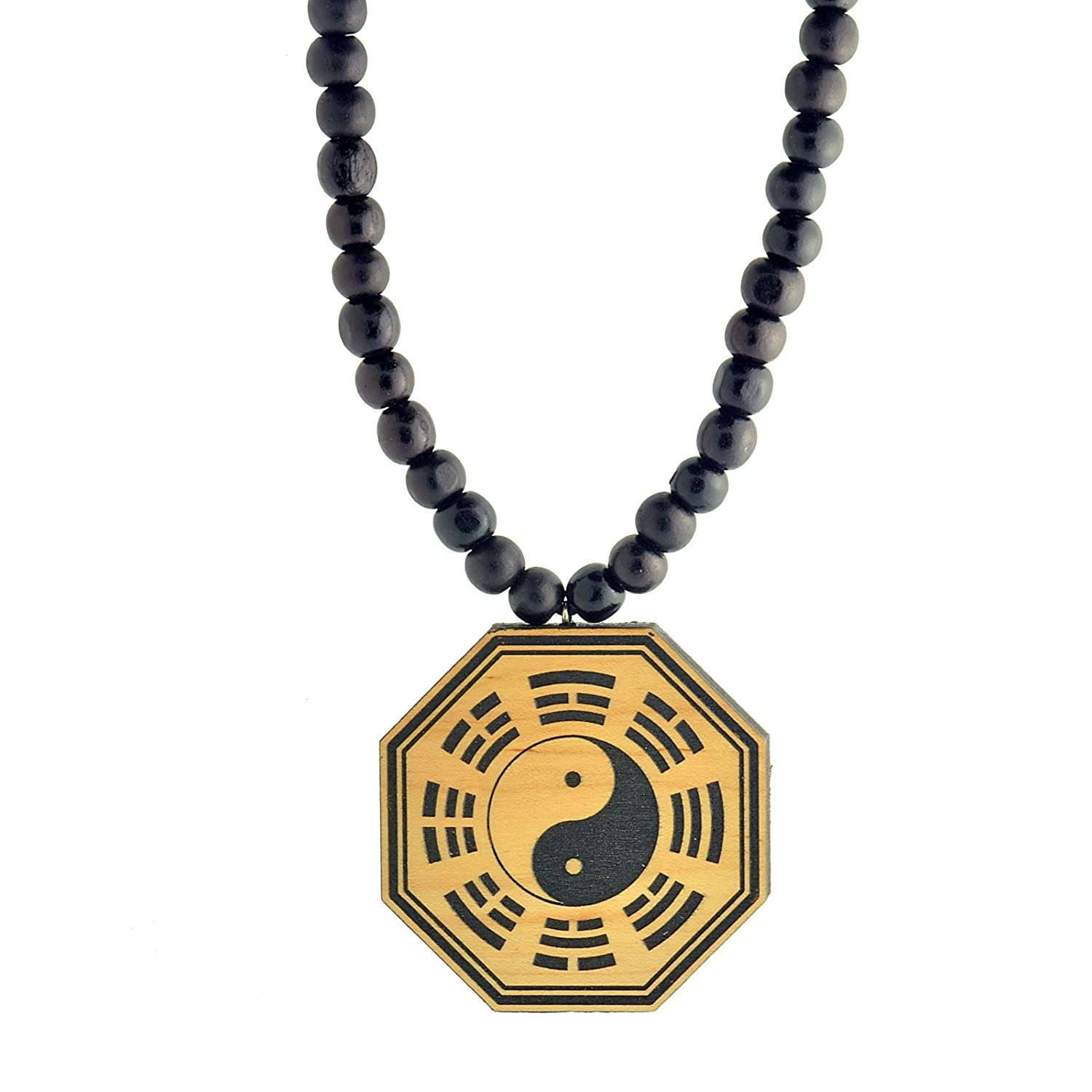 Amazon octagon yin and the yang wooden pendant with wood bead amazon octagon yin and the yang wooden pendant with wood bead necklace swaggwood made in usa jewelry aloadofball Image collections