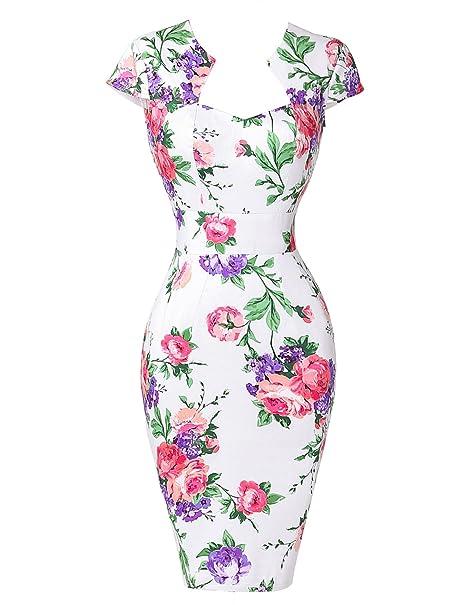 GRACE KARIN Vestidos Blancos Flores Rojos Mujer Vestido de Estilo Vintage Pin up XL 7#