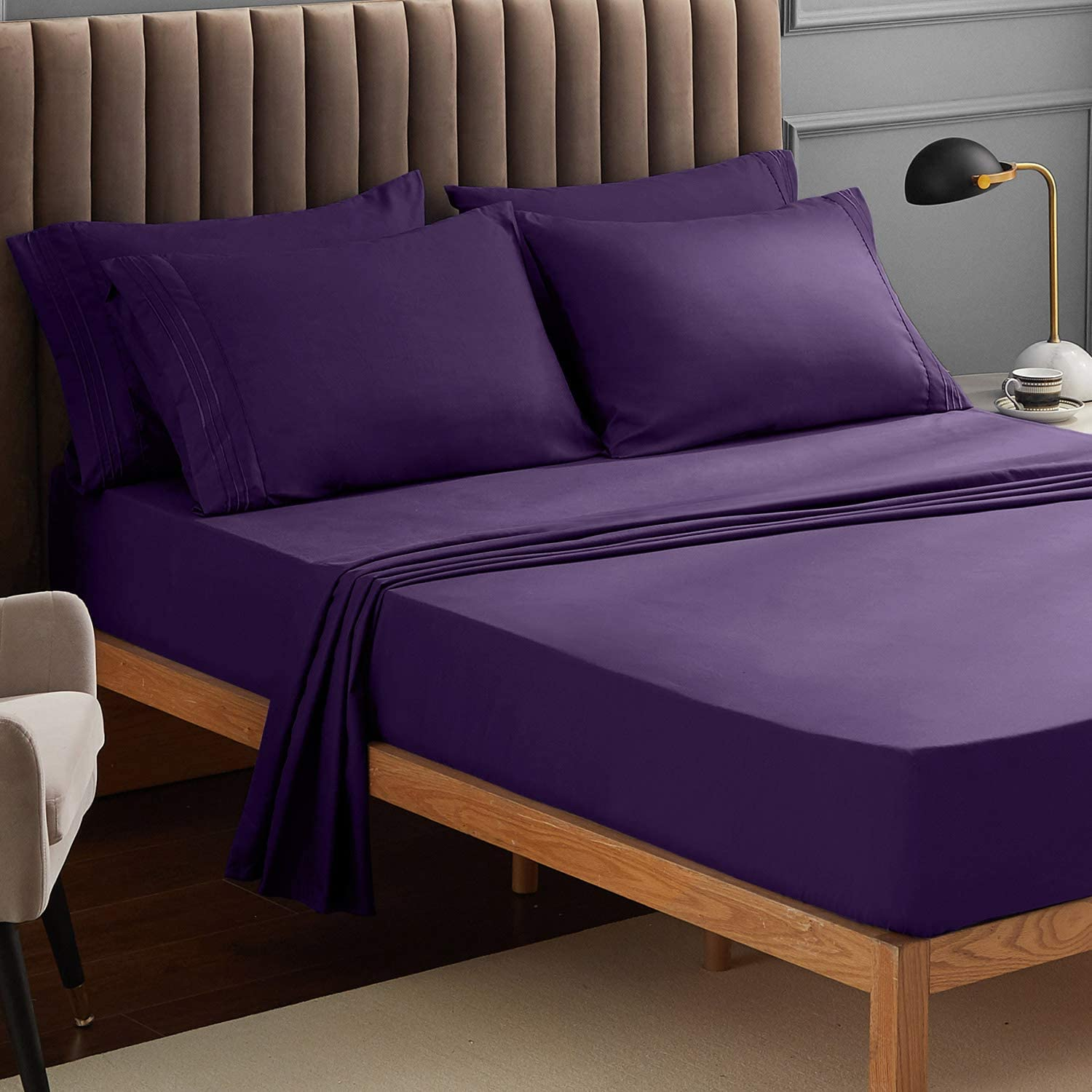 VEEYOO Bed Sheet Twin XL - Purple Fitted Sheets Set Deep Pocket, Luxury 1800 Brushed Microfiber Bed Set Extra Soft, Wrinkle, Fade, Stain Resistant, Breathable, Hypoallergenic - 3 Piece, Purple