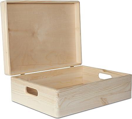 Creative Deco XL Grande Caja Madera para Decorar | 40 x 30 x 13 cm (+/-1cm) | con Tapa y Asas | Cofre Decoración Decoupage Almacenar Documentos, Objetos de Valor, Juguetes, Herramientas: Amazon.es: Hogar