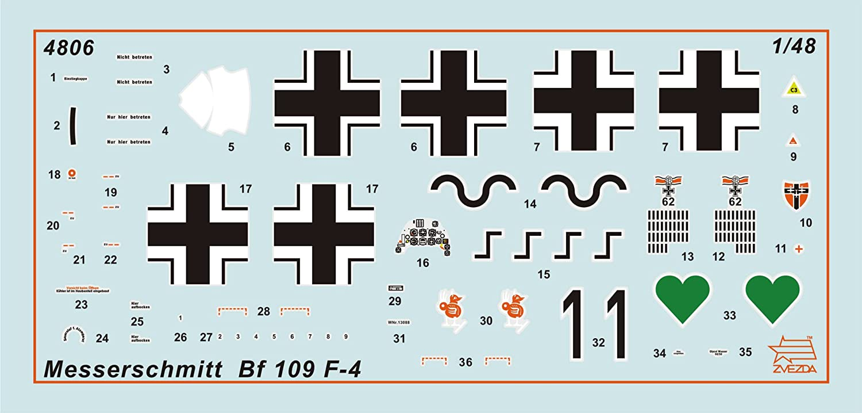 Zvezda Models 1//48 Messerschmitt Bf-109 F4 Model Building Kit