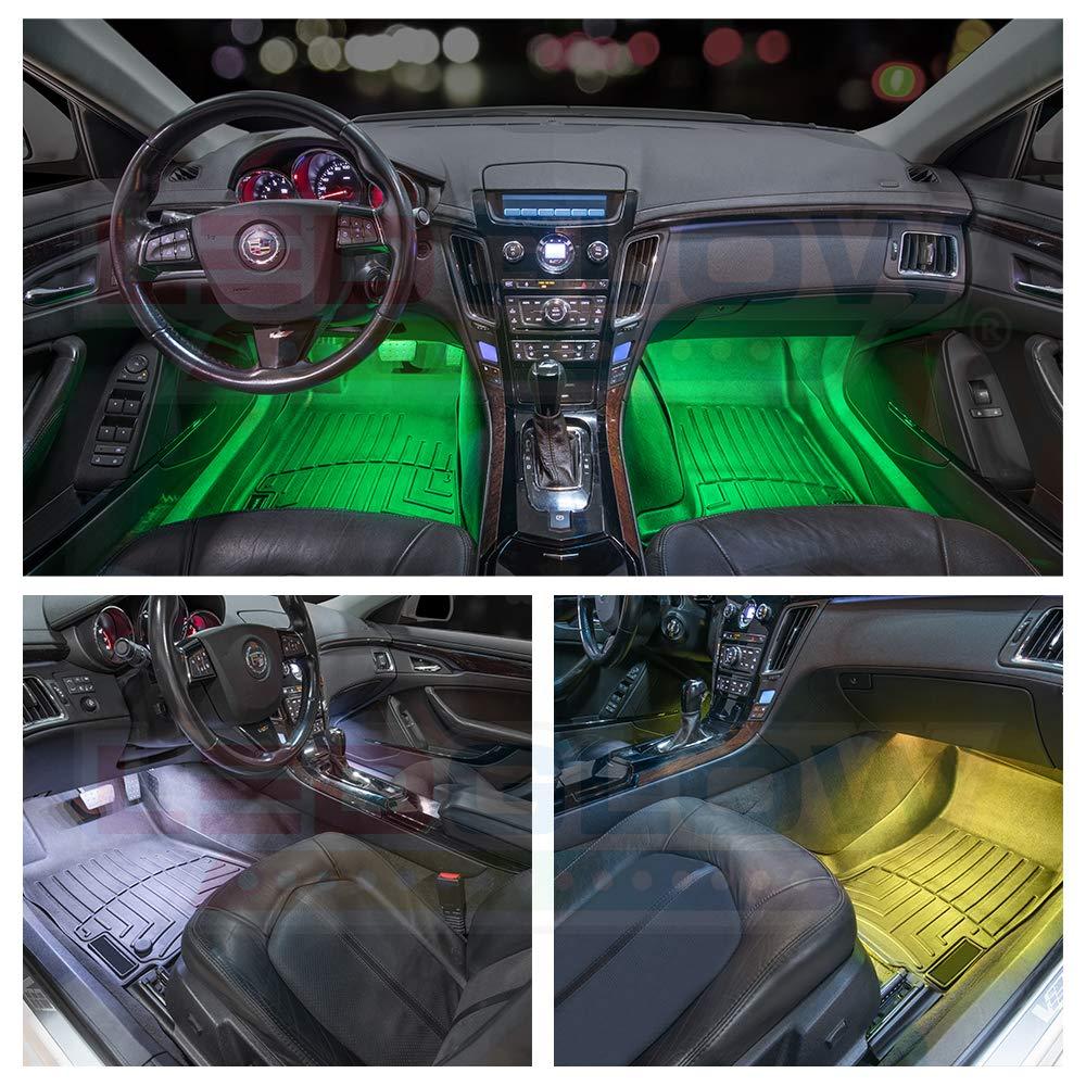 Auto Illumination Bypass Mode LEDGlow 4pc Multi-Color LED Car Interior Underdash Lighting Kit Universal Fitment Music Mode