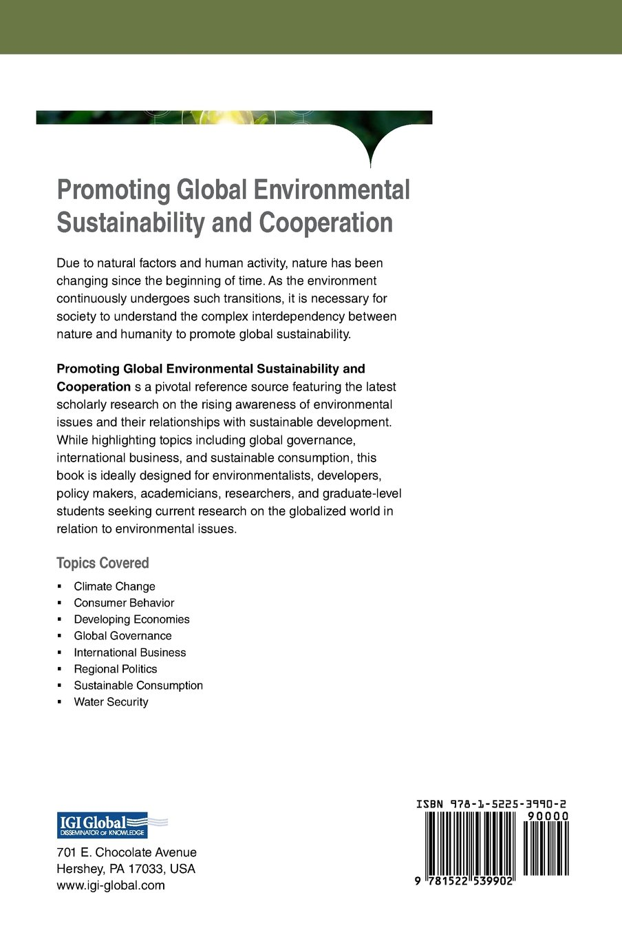 Promoting Global Environmental Sustainability and