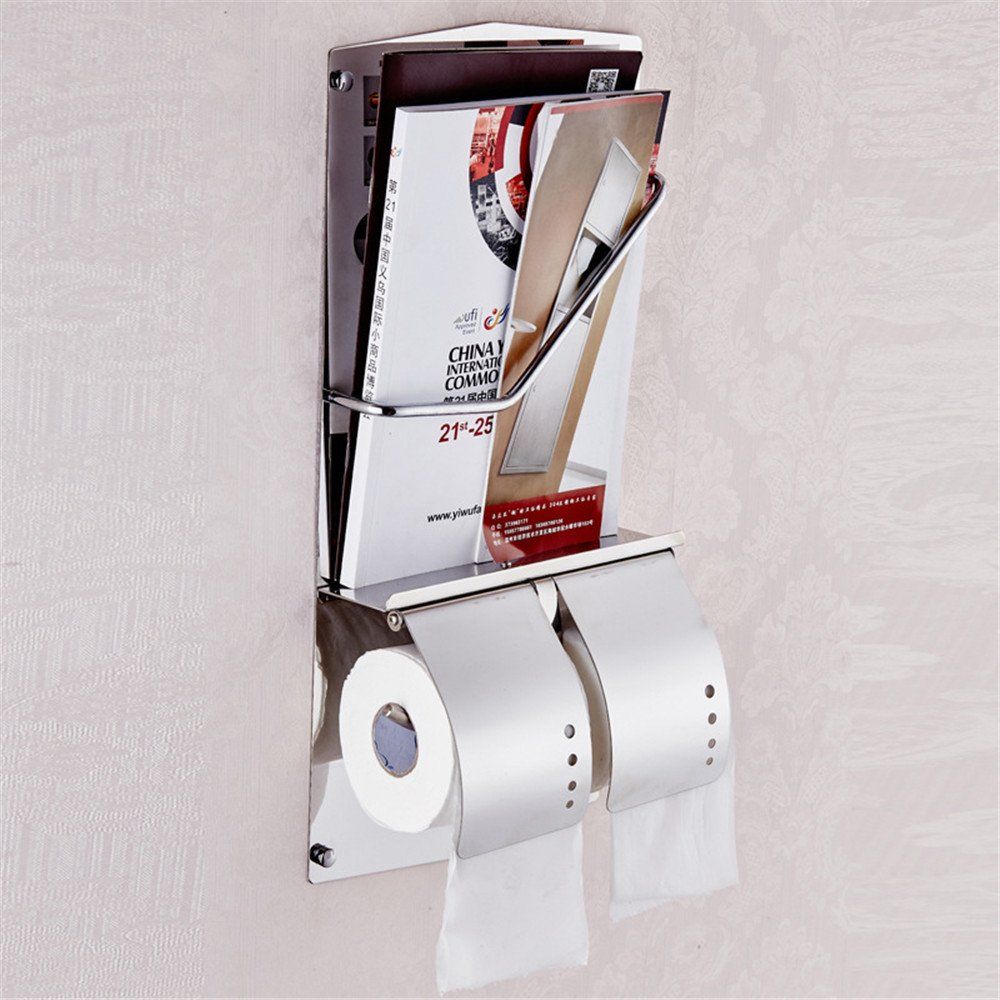 Weirun Modern Hotel Style Stainless Steel Double Toilet Roll Paper Holder Tissue Hanger and Dispenser with Magazine Rack Shelf Heavy Duty Wall Mounted,Polished Chrome