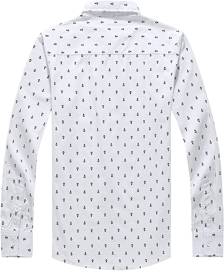 SSLR Camisa Casual Hombre Manga Larga Estampada de Anclas