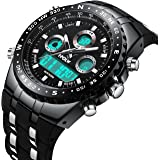 Mens Analogue Digital Sports Watch Men Tough Military Big Face Waterproof Electric LED Digital Watch with Stopwatch Gents Army Shock Resistant Casual Wrist Watches with Black Rubber Band