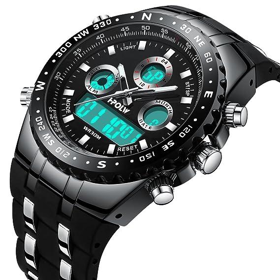Relojes Deportivo Digital Para Hombres Multifunción 30M Impermeable Cuenta  Regresiva Dial Grande Militar LED Casual Reloj de Digital con Cronómetro  Para ... ada19261cc5f