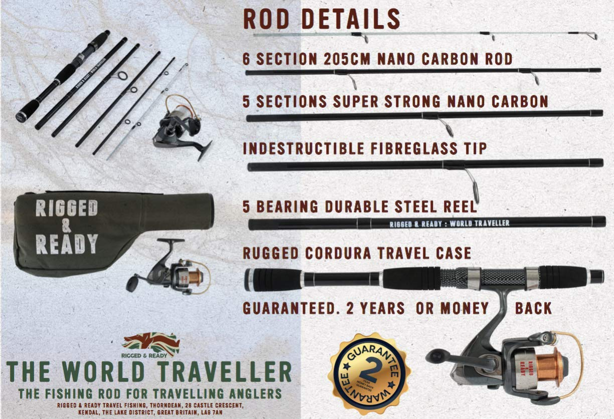 Rigged Ready World Traveller, Travel Rod Combination. 6 Piece, 205cm, 6.7ft, high Performance, Powerful, Nano Carbon Rod with Unbreakable tip, Travelling Fishing Rod, 5 Bearing Reel and case