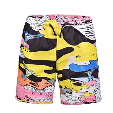 bb507d938dc Men s 3D Animal Banana Graffiti Printed Beach Pants Swim Trunk Work Casual  Short Sports Shorts Pants