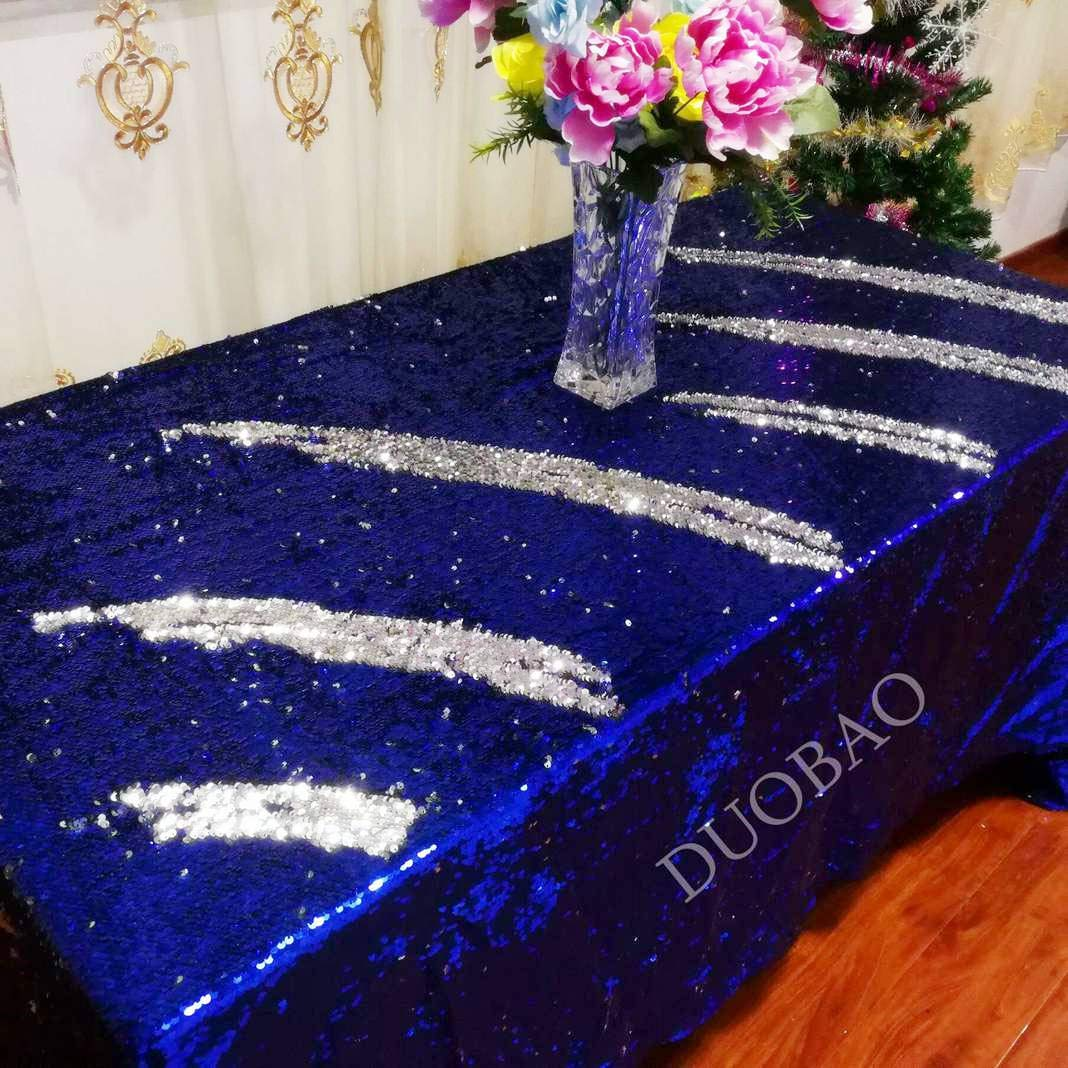 DUOBAO 72x108-InchRectangleSequinTableclothRoyal Blue to Silver Mermaid Sequin Table Cover Glitter Table Cloths for Wedding/Party/Kitchen decorations-0612H