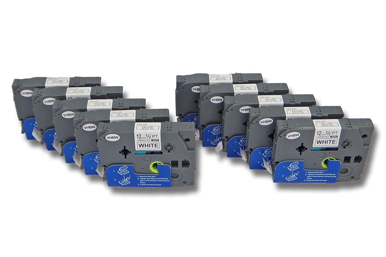 1100 1090BK 1080SBTS 2x vhbw Kassette Patronen Schriftband 12mm f/ür Brother P-Touch 1080BTS 1100SB 1090 TZE-231. 1100SBVP wie TZ-231