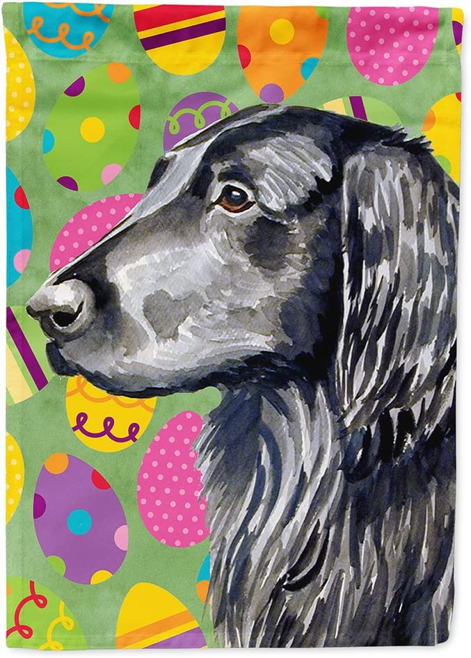 Caroline's Treasures LH9411GF Flat Coated Retriever Easter Eggtravaganza Flag Garden Size, Small, Multicolor