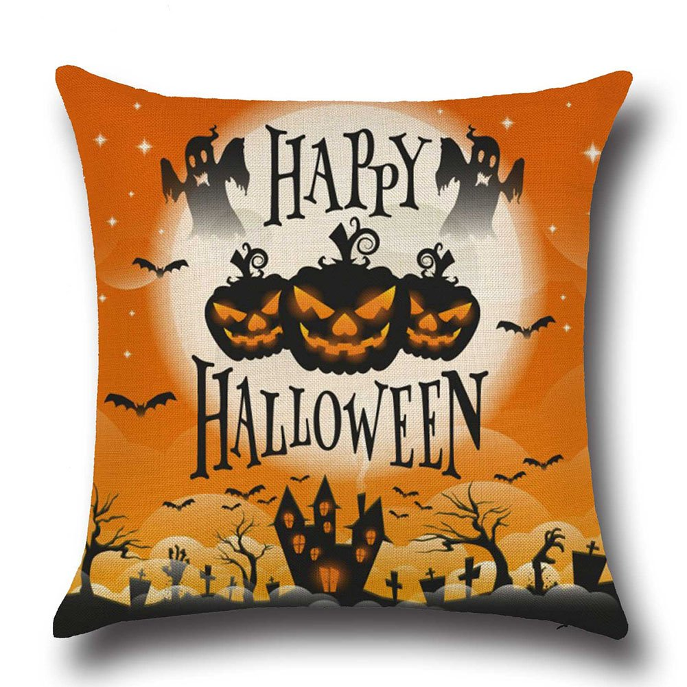 45*45cm Drap en coton #1 Fablcrew Halloween Taie doreiller Housse de coussin en coton et lin Assise doreiller pour canap/é Home Decor