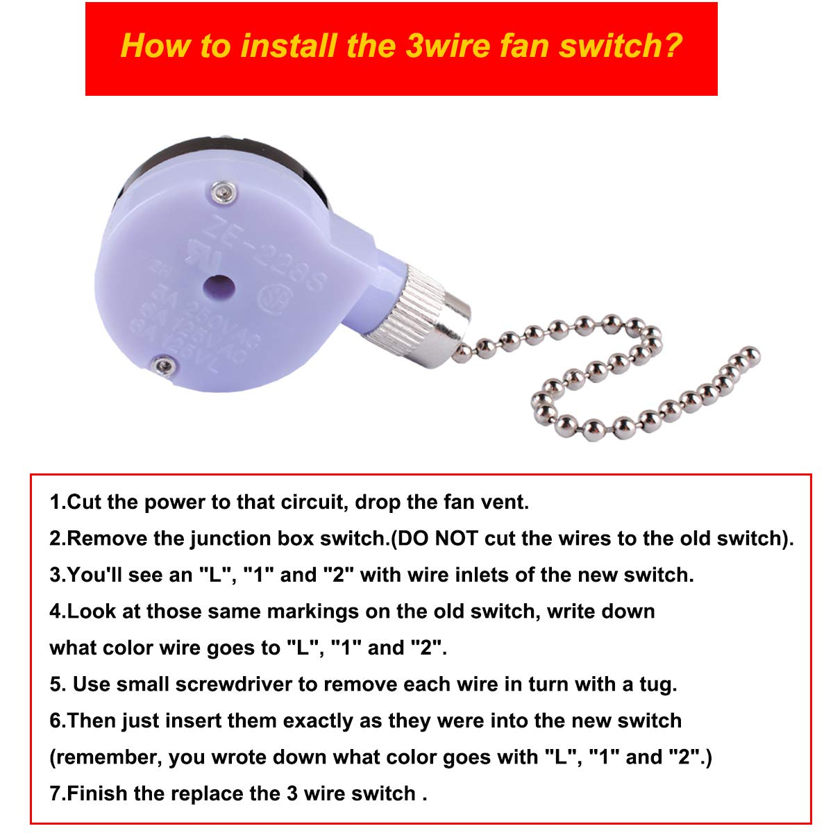 Ze 228s Switch Electrical Pull Chain Two Speed Ceiling Fan Jin You Wiring Replace For Gardner Bender Gsw 33 Zing Ear Off On 3 Wire Lamps By Ketofa