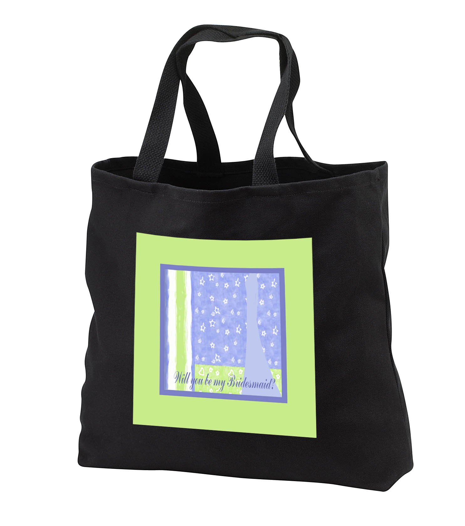 Beverly Turner Wedding Bridal Party Design - Bridesmaid Request, Dress on Stars and Lines, White, Green and Blue - Tote Bags - Black Tote Bag 14w x 14h x 3d (tb_282212_1)