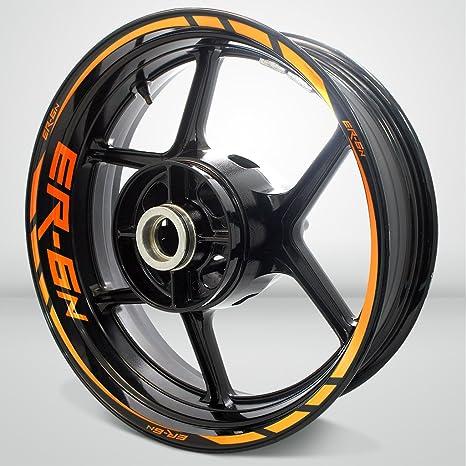 Arancione Riflettente Ruote Moto Cerchione Decalcomanie Accessorio Adesivi per Kawasaki ER6N