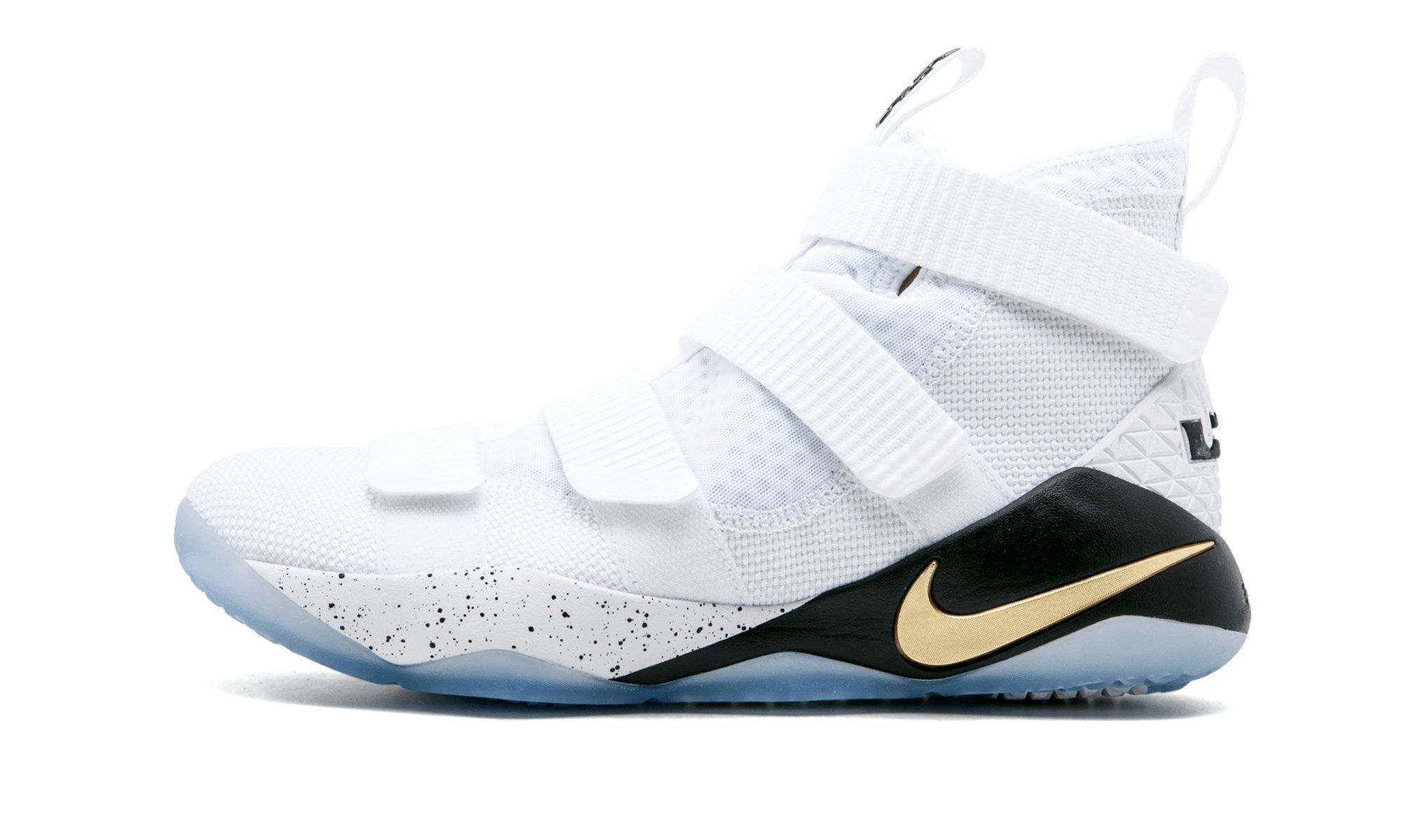 new arrivals 663a8 51dfa Galleon - Nike Lebron Soldier Xi Mens Basketball Shoes (9.5 D(M) US,  White Black-Metallic Gold)