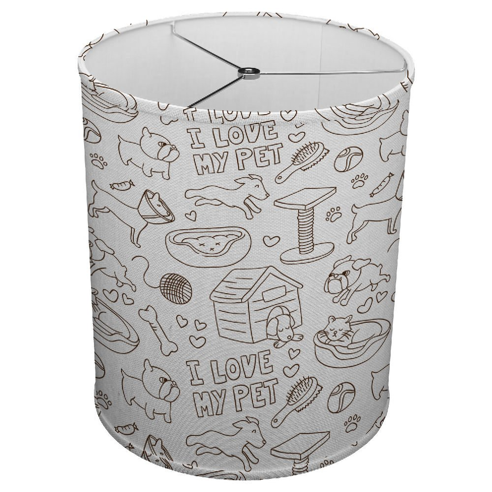 Hardback Linen Drum Cylinder Lamp Shade 8'' x 8'' x 8'' Spider Construction [ I Love My Pet Dog ]