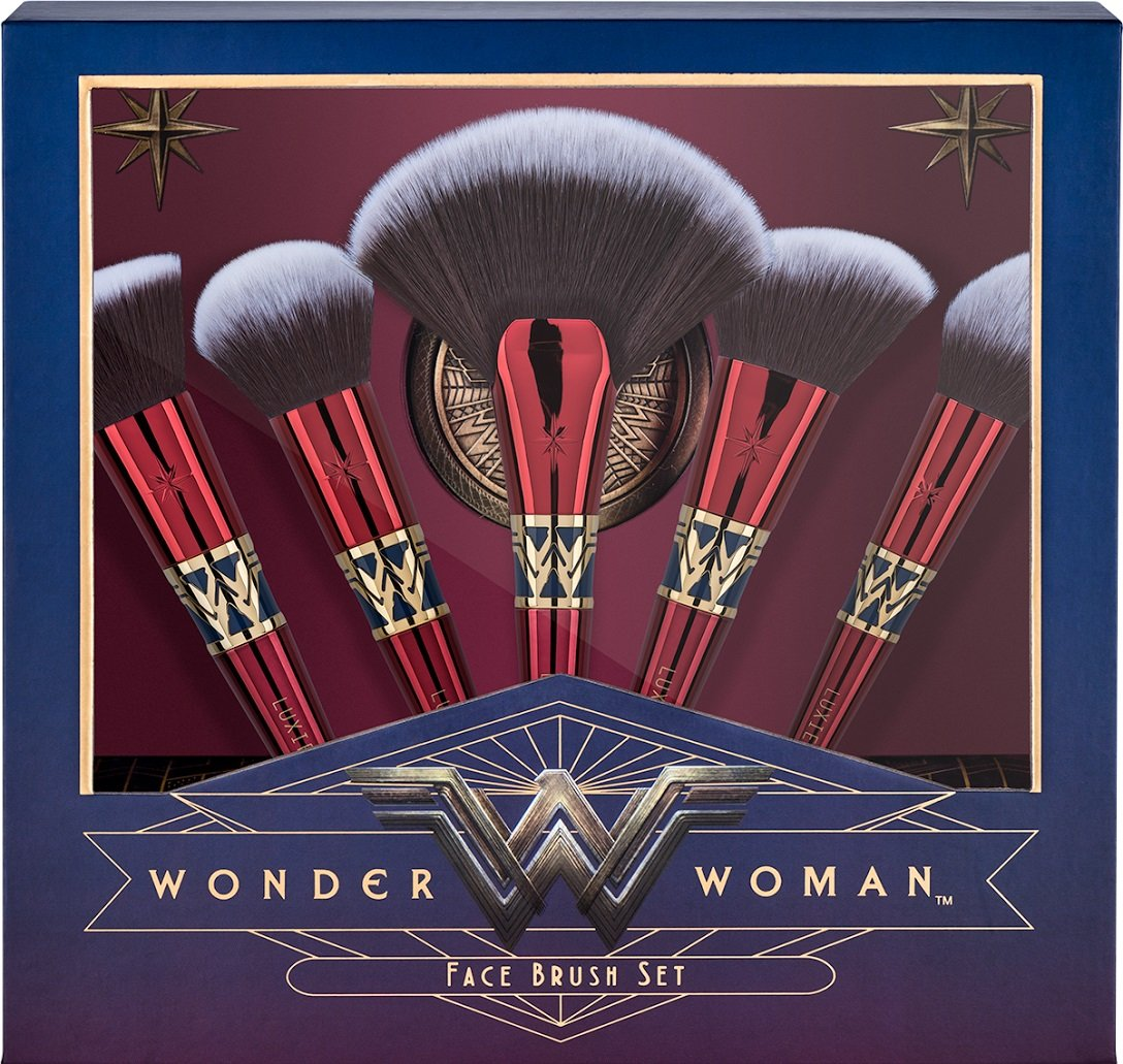 Luxie Beauty - Officially Licensed Wonder Woman 5 Piece Brush Set & Mirror Compact by LUXIE (Image #1)