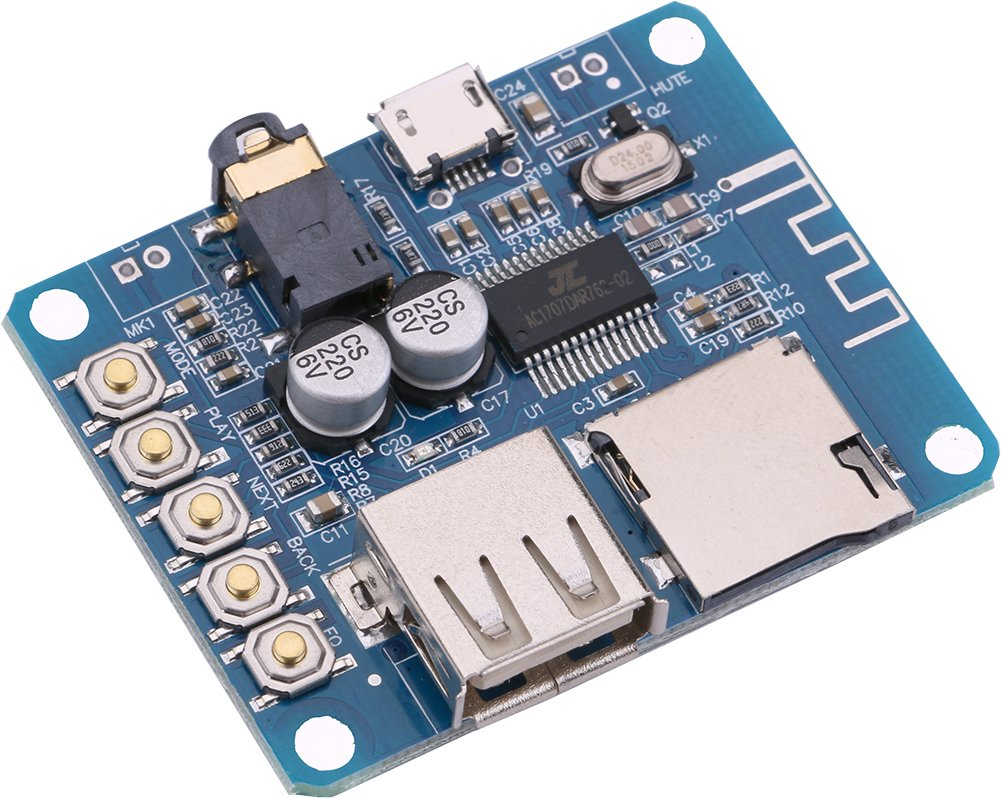 MP3 Decoder Board Bluetooth, Yeeco Mp3 Decoder Board with Bluetooth Module Lossless Wireless BT 3.0/4.0/4.1 Audio Amp Board Headphone 2 Channel Bluetooth Mp3 Decoder Board Decoding Player Module A1700108