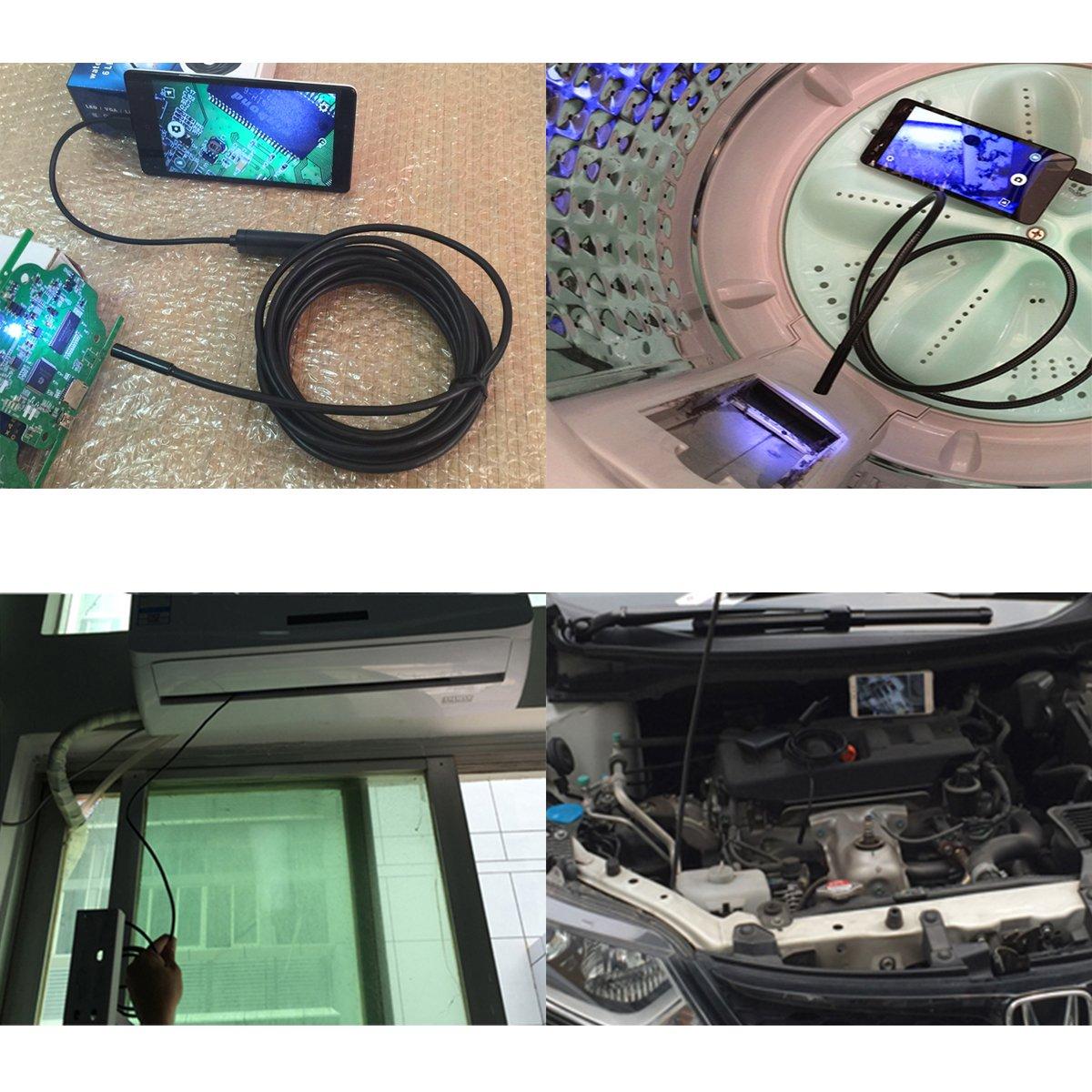 5M FLOUREON USB Endoscope sans Fil Etanche cam/éra d/'Inspection 6 LEDs r/églable 720P 8mm Android//PC