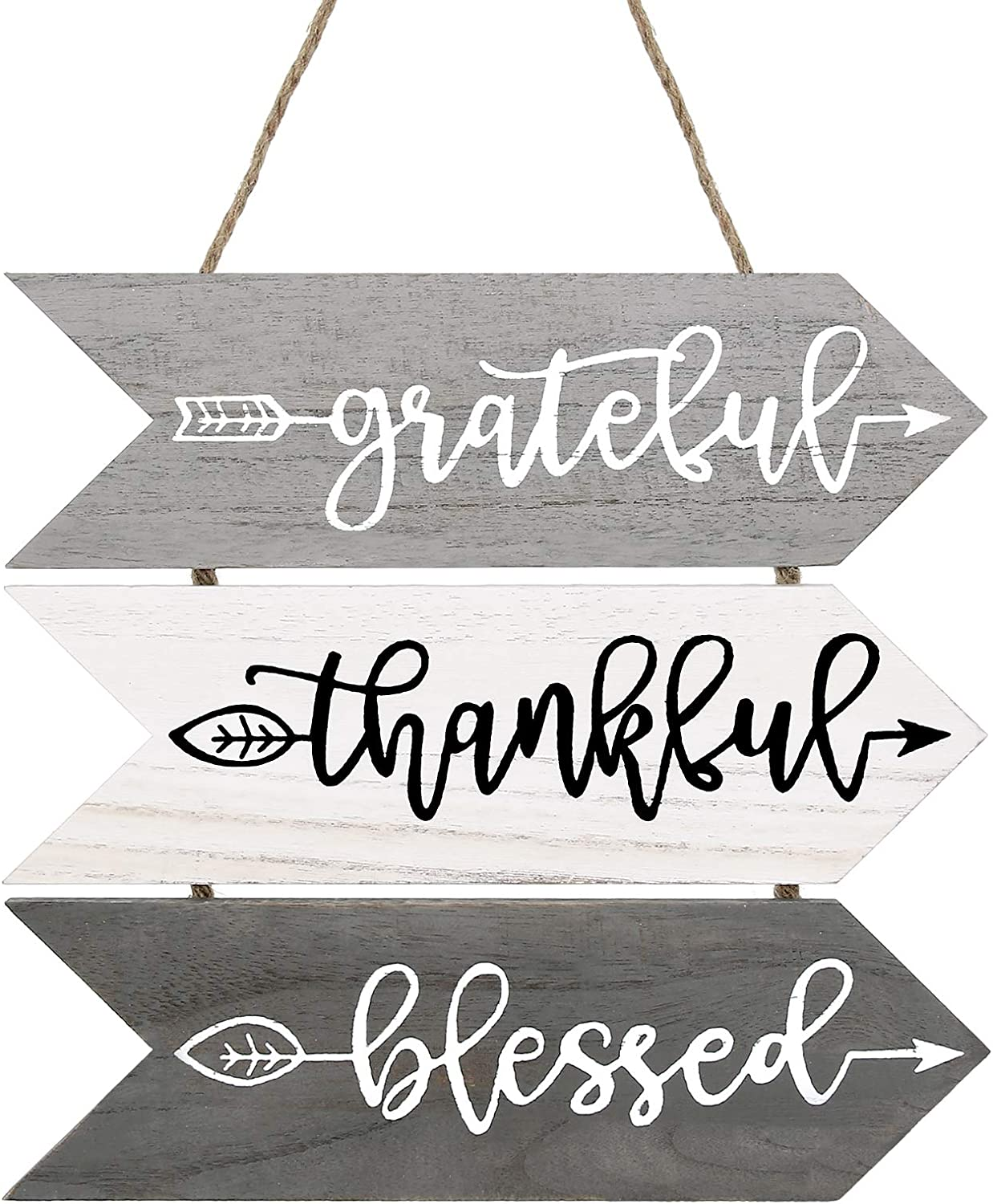 3 Pieces Rustic Wood Arrow Sign Wall Decor Thankful Grateful Blessed Sign Hanging Wall Sign Welcome Sign for Wall Art Farm House Home Living Room Kitchen Decorations (Classic Colors)