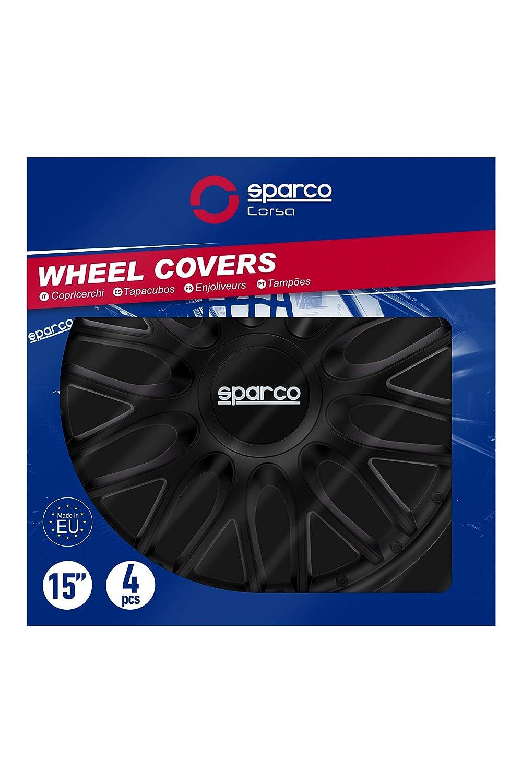 Amazon.com: Sparco SPC1596BK Hubcaps Roma Black 15 Inch, Set ...