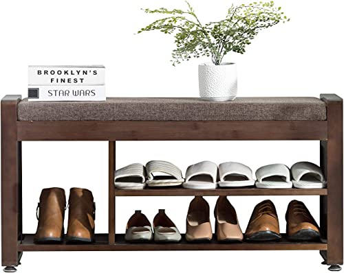 Shoes Bench Rack Nnewvante Bamboo Shoe Storage Organizer with Side Drawer Metal Hooks Removable Padded Seat Cushion Entry Bench for Entryway Hallway Living Room Bedroom-37.4in