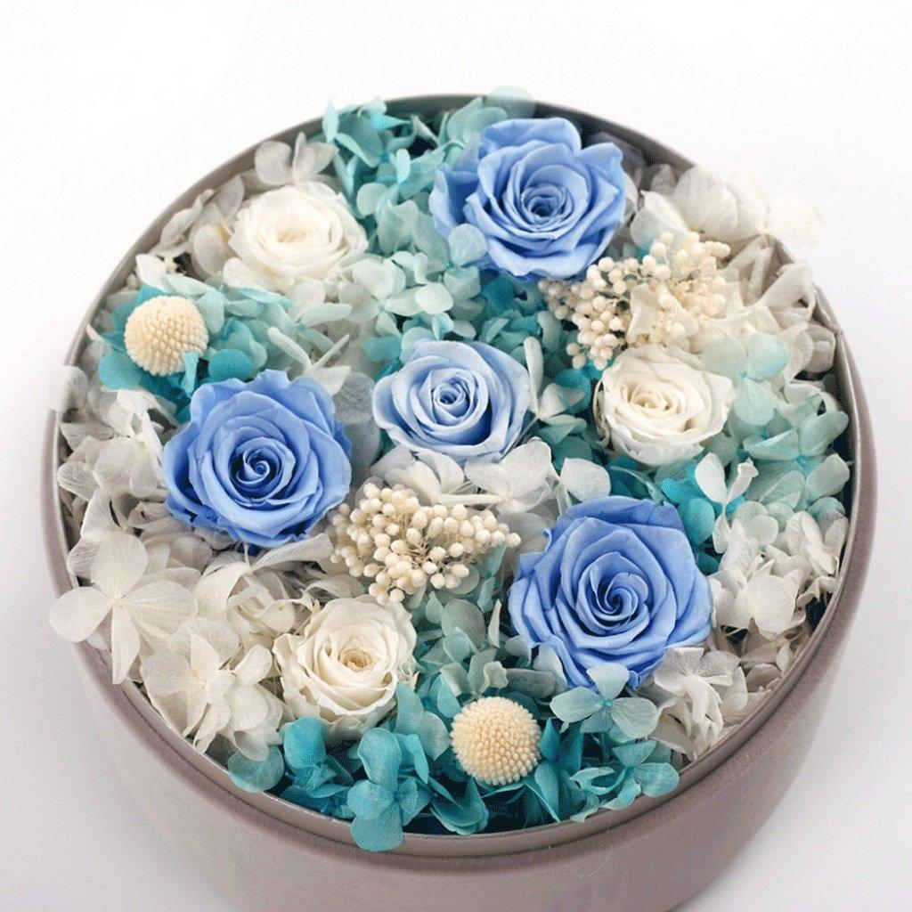 花永遠のバラ高品位ラウンドボックス決して衰えないバラのロマンチックなギフトすべての忘れられない日ギフトのために (色 : 青) B07D78JNPC 青 青