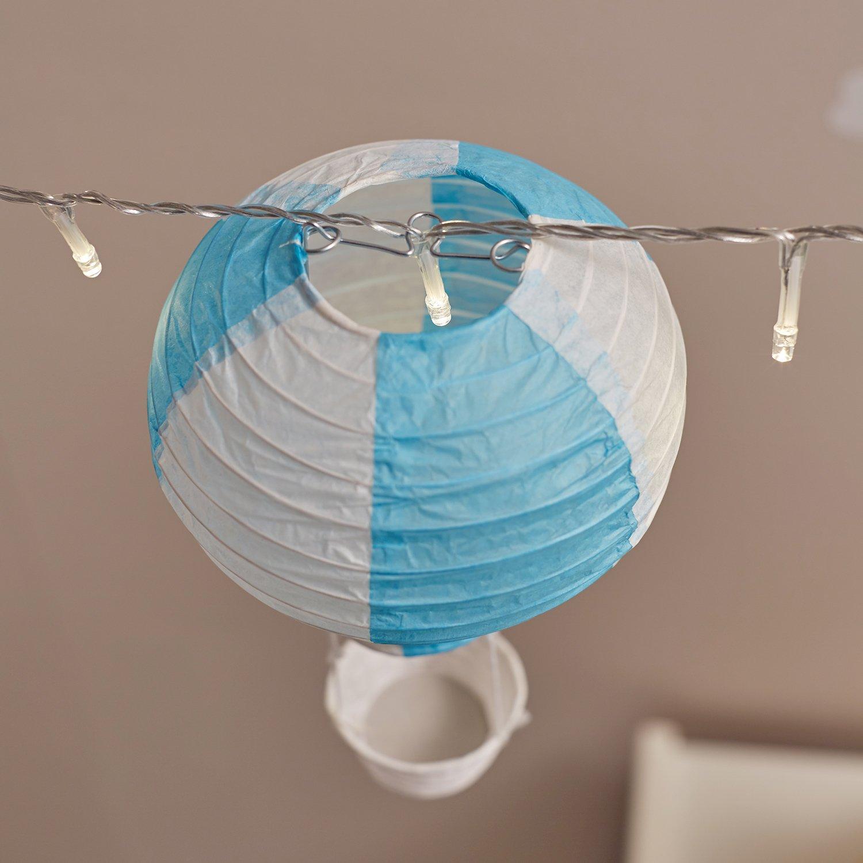 20er LED Lichterkette mit 5 Deko Heißluftballons Kinderzimmer Deko ...