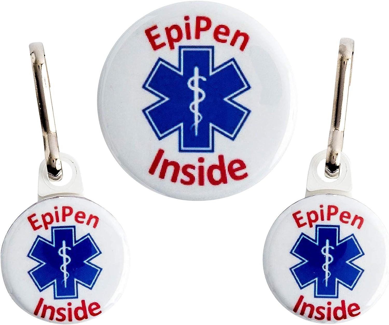 Epi Pen Alert Button Bag Tag Medical Alert Allergy Epi Pen Inside 3 Pack! EpiPen Tag, Emergency Syringe Tag Set, Tag Set for Bag, Tag Set for Kid, Epipen Bag Tag Made in The USA!