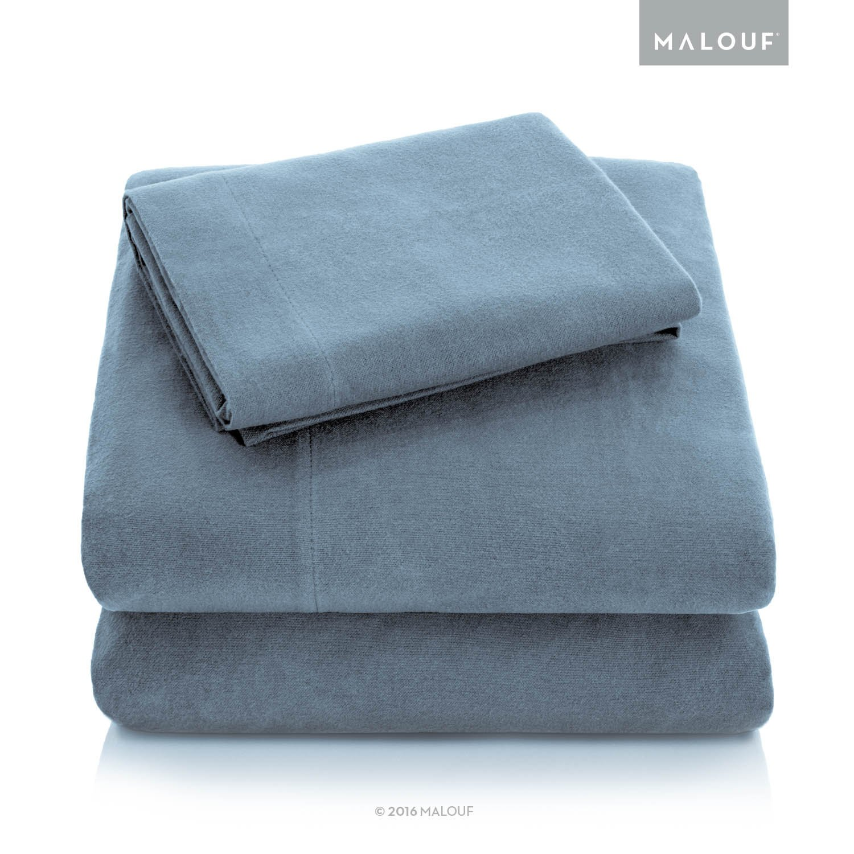 MALOUF Heavyweight Portuguese Flannel Sheet Set-100% Cotton Pill Resistant Bedding-Split King-Pacific, Split King by MALOUF