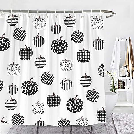 72 x 72 Inches Wencal Fall Buffalo Check Plaid Stripes Chevron Polka Dot Pumpkins Shower Curtain Farmhouse Thanksgiving Bathroom Decor with Hooks
