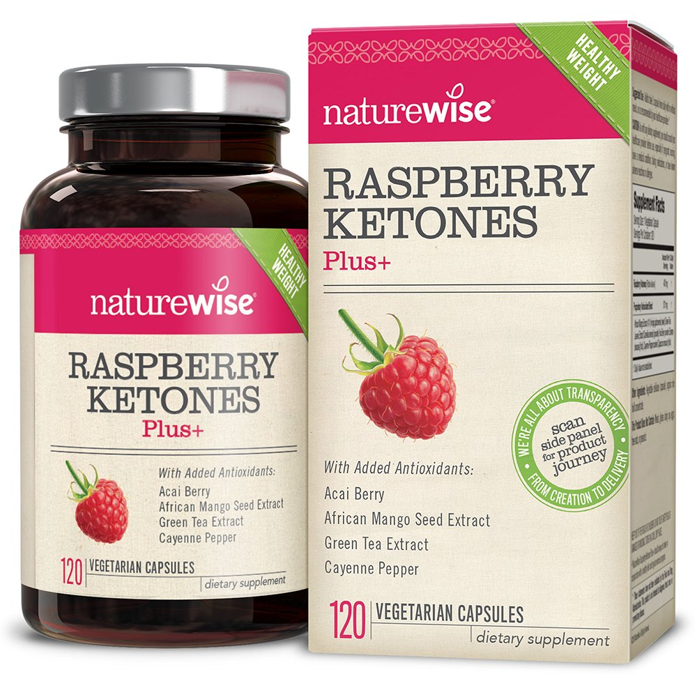 NatureWise Raspberry Ketones Plus+, Advanced Antioxidant & Green Tea Extract for Weight Loss, Appetite Suppression, Organic Kelp, Resveratrol, Vegan, Gluten-Free, 120 count by NatureWise