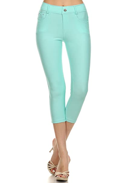 de0ee254f89 Women's Stretch Capri Jeggings - Slimming Cotton Pull On Jean Like Cropped  Leggings - Regular and