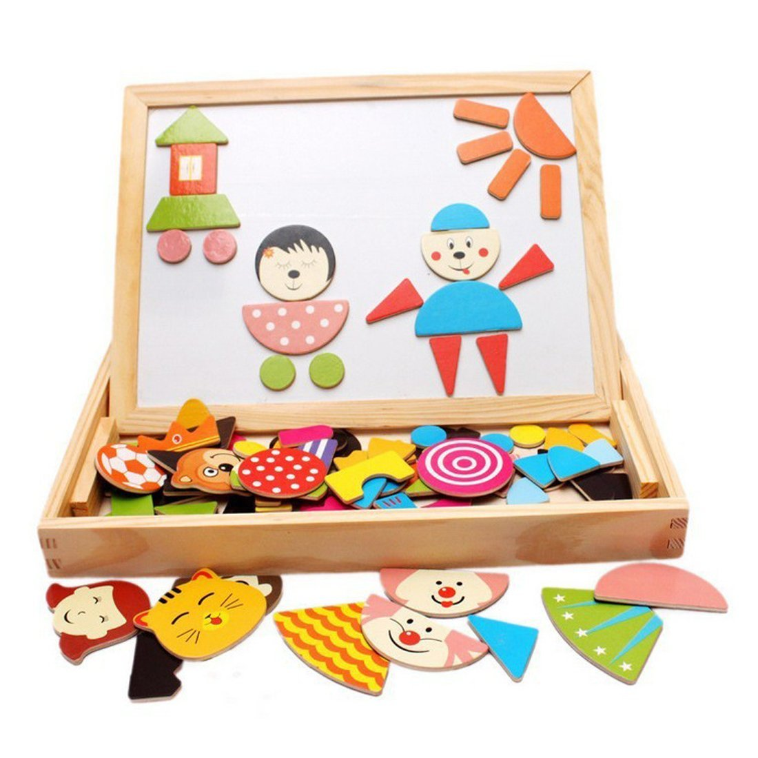 MUWANZI Wooden Magnetic Jigsaw Puzzles Games Toddler Toys Double Sided Drawing Easel for Kids