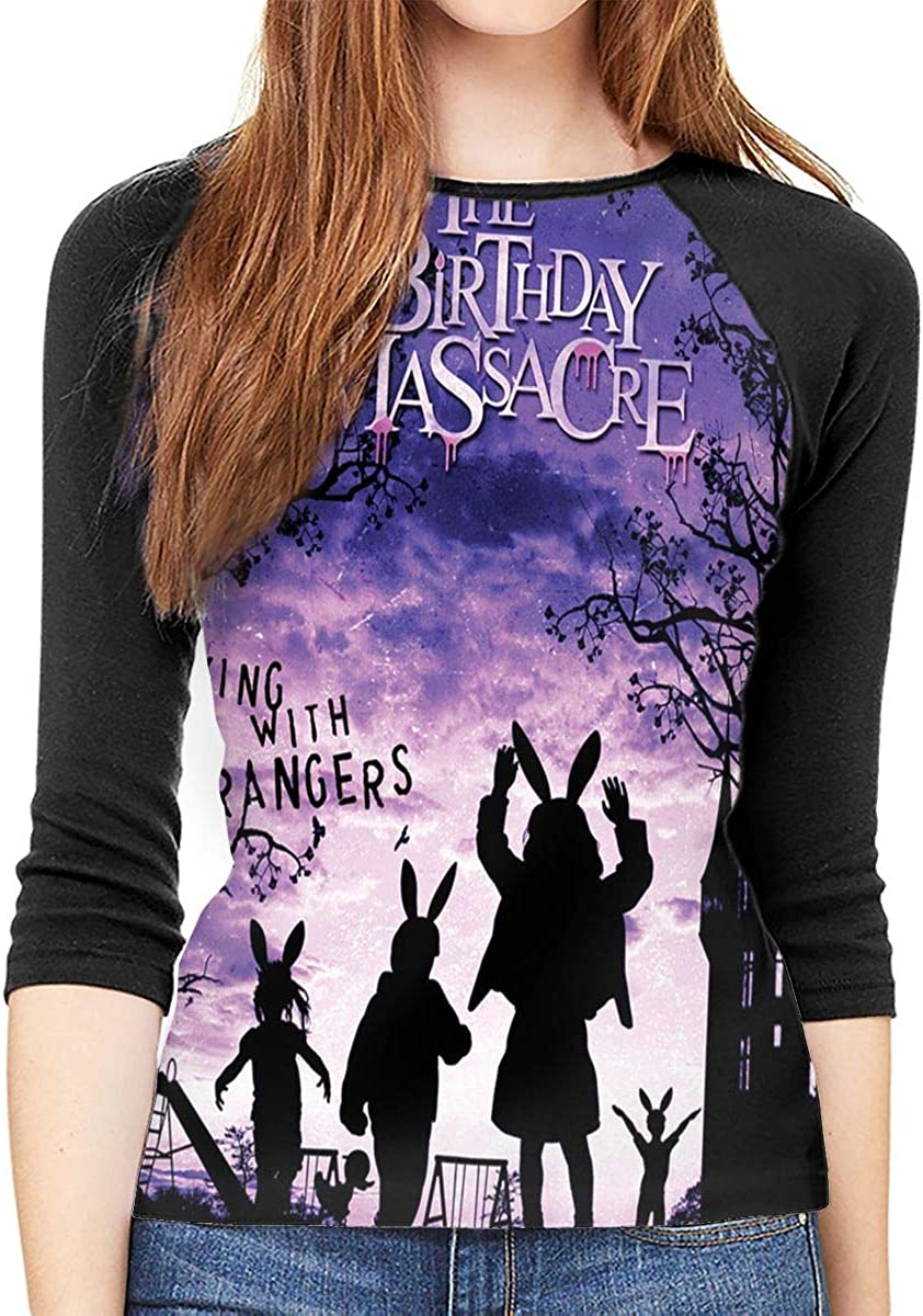 NOT The Birthday Massacre Walking with Strangers Woman 3//4 Sleeve Raglan Baseball T-Shirt Black Tee