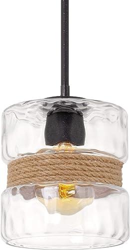 Kira Home Sage 10″ 1-Light Modern Pendant Light Hammered Glass Shade