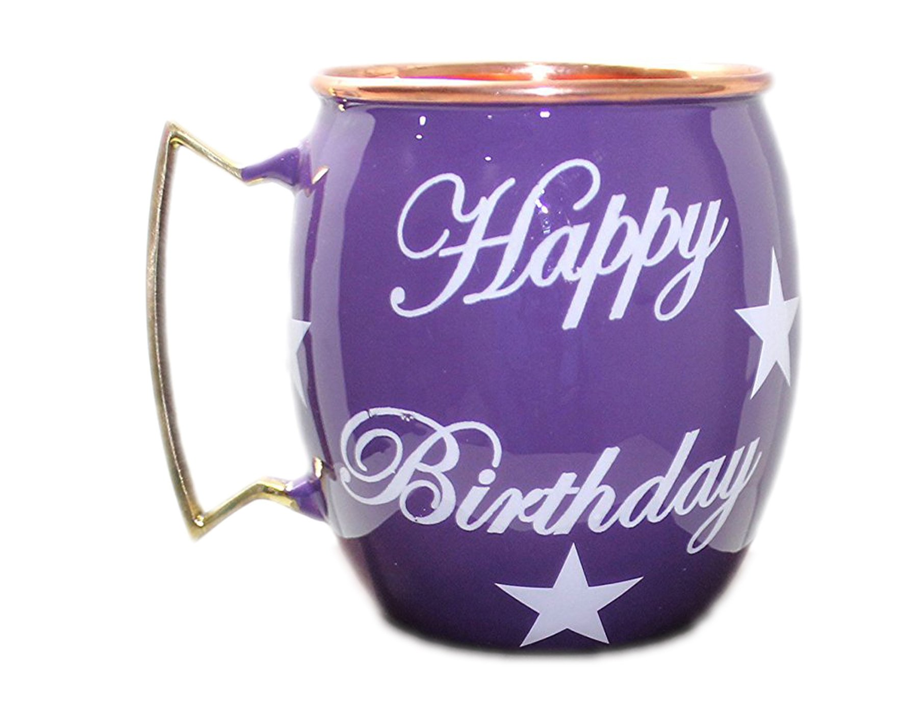 PARIJAT HANDICRAFT Happy Birthday Hand Painted Copper Mugs Special Deign For Gift On Birthday Moscow Mule Mugs Cups Mugs Smooth Finish.